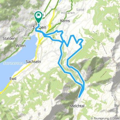 Sarnen-Flüeli-AlterMelchtalerweg-Schild-HocheBrücke-Sarnen