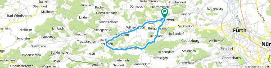 Von Langenzenn über den Zenntalradweg nach Neuhof und über Kirchfarnbach zurück