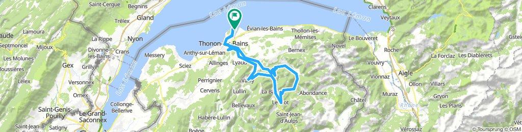 Thonon-les-Bains - Coldu Corbier - Col du Grand Taillet 76km-1450m