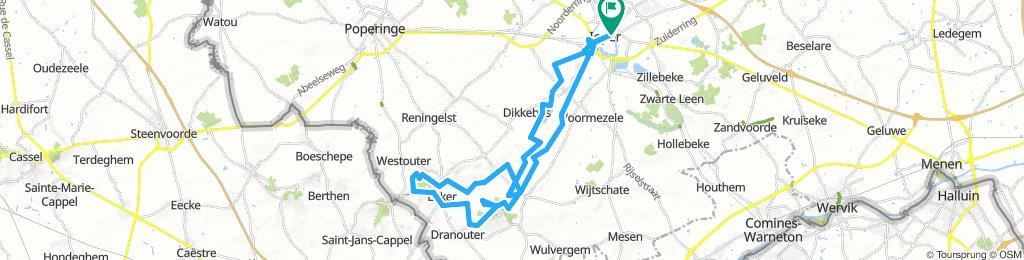 rit naar heuvelland met crossfiets