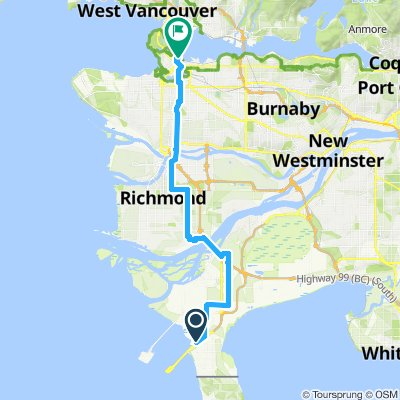 1010104 1of12 BC - 01d Tsawwassen, BC to Vancouver, BC via Free Massey Tunnel Shuttle (YWCA Hotel Vancouver) 39km