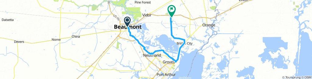 Beaumont, TX to Orange, TX