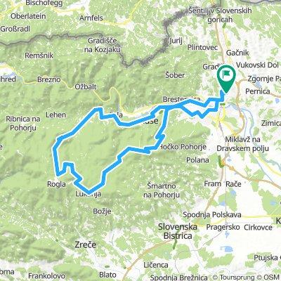 Košaki - Bistrica- Pečke - Glažuta - Areh - Šumik (zgoraj) - Dom na Osankarici - Lukanja - Pesek - Lovrenc - Činžat - Ruše - Maribor