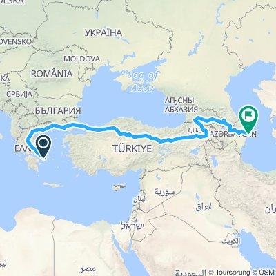 Athens to Baku