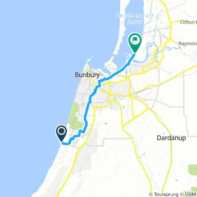 Dall Surf to Cristal shortest road route