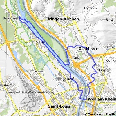 Eimeldingen - Weil am Rhein - Huningue - Kembs
