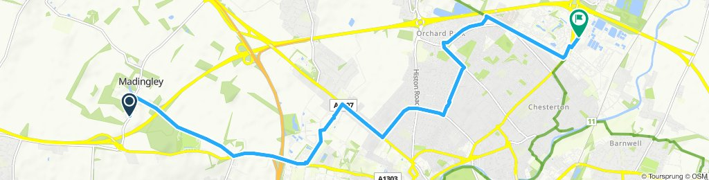 bizbike route from Madingley to SJIC