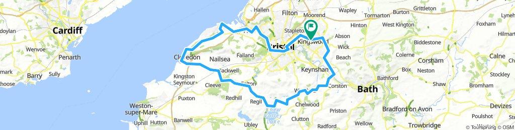 Bristol-Saltford-Pensford Aqueduct-Chew Valley Lake-Clevedon-Portishead-loop