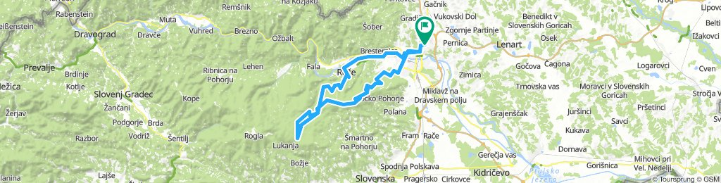 Košaški dol - Ruše - Reber (Janijeva klop) - Šumik (koča) - Osankarica (trail mimo taborišča) - Šumik - Areh - Šanijeva klopca - Radvanje - Košaki