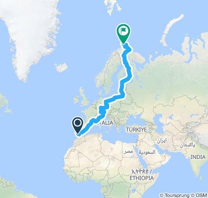 Gibraltar-Nordkap-geplante-Route