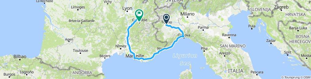 Genova - Monaco - Saint Tropez - Marseille - Grenoble - Torino - Genova