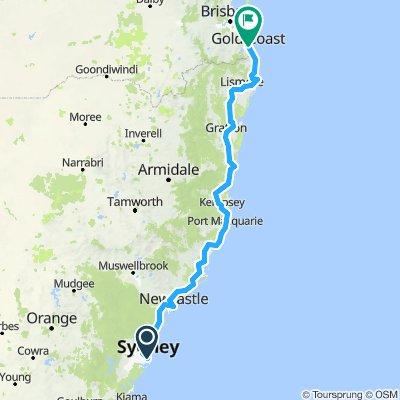 bike trip form Sydney to Gold Coast