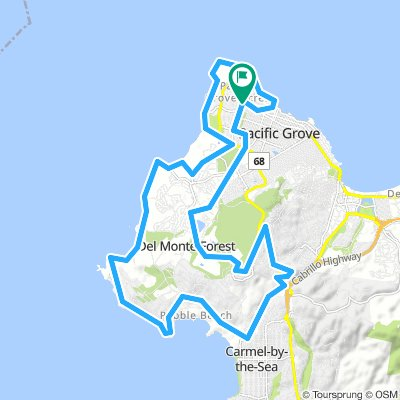 17 Mile Drive | Bikemap - Your bike routes  Mile Drive Map on pebble beach, california state route 133, cathedral of san carlos borromeo, cypress point club, spyglass hill golf course, sand city, 49-mile scenic drive, carmel valley, pacific grove, pebble beach golf links, cannery row, california state route 1, bixby creek arch bridge, cupressus macrocarpa, monterey peninsula airport, california state route 241, california state route 68, big sur,