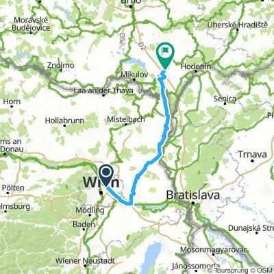 Kaisermühlen - Velke Bilovice - Radwegestrecke