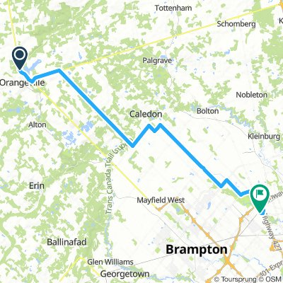6of12 SouthCentralON - 07a Orangeville, ON to Brampton, ON (Indian Line Campground) 55km
