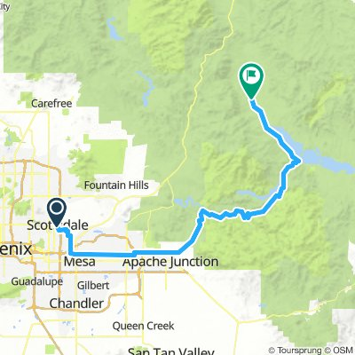 Cycling routes and bike maps in and around Scottsdale
