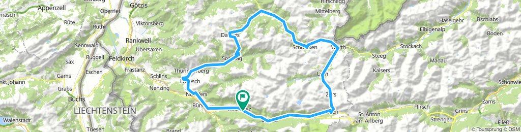 Braaz - Faschinajoch (1486 m) - Hochtannbergpass (1675 m) - Flexenpass (1773 m)