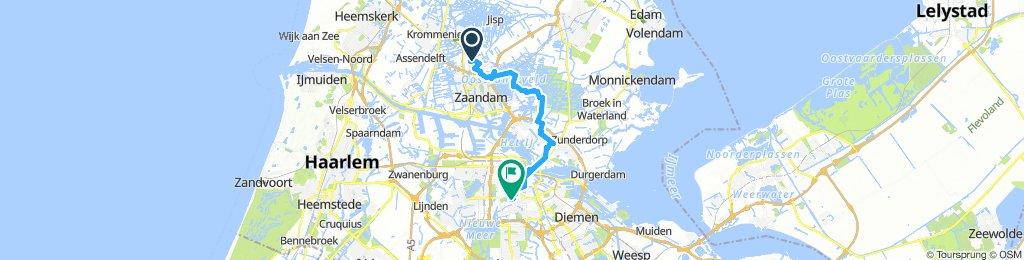 schöne route Zaanse Schans nach Amsterdam