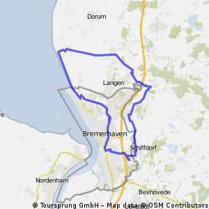 50,6km Nordwestwindroute- Spaden-Debstedt-Sievern-Wremen-Weddewarden-Brhv CLONED FROM ROUTE 134362