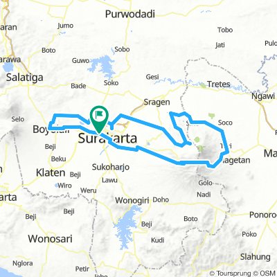 Cycling routes and bike maps in and around Surakarta ...