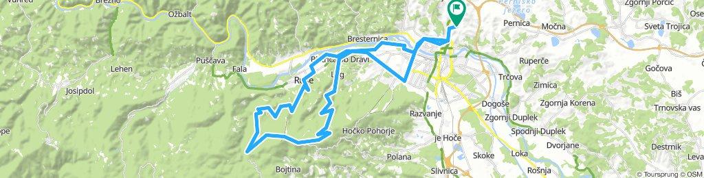 Košaki - Bistrica - Pečke - Areh - Janijeva klop (Reber) - Ruše - Košaki