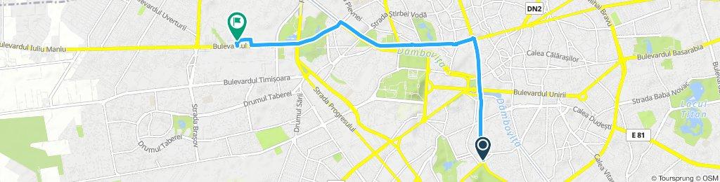 Snail-like route in Bucharest