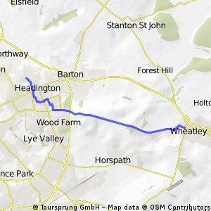 Wheatley to John Radcliffe Hospitals (via Shotover)