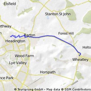 Wheatley to John Radcliffe Hospital via A40 cycle path