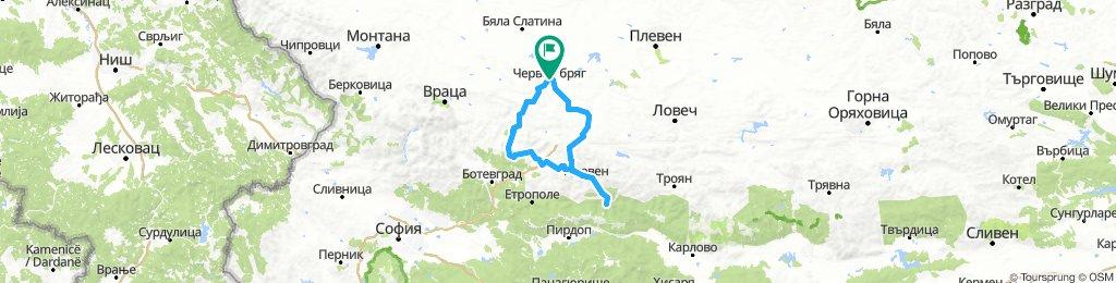 Червен бряг - Рибарица, през Роман и Луковит.
