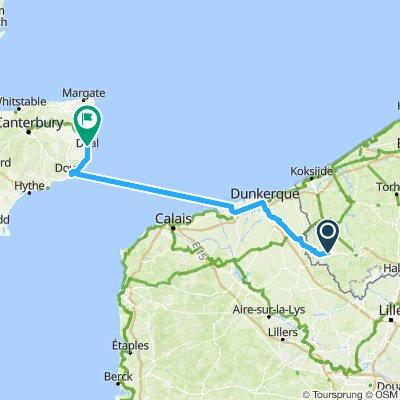 Bxl - Londres J2 : Poperinge - Dunkerque - Douvres - Deal