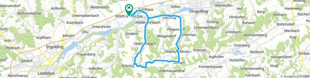 Wörth-Nieder.-Oberviebach-Kirchberg-Oberwolkersdorf-Nöham-Oberspechtrain-Teisbach-Loiching-Wörth-