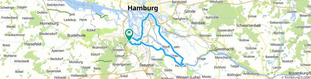 Lindtner Hotel-Heimfelder Holz-Schwarzenberg-Europabrücke-Wilhelmsburg-Neue Elbbrücke-Norderelbe-Zollenspieker Hauptdeich-Elbe-Rosenweide-Gut Moor-Harburg-Heimfeld