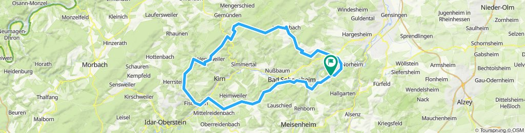 Oberhausen 2, 96km 1.320 hm Ri.Niederhausen, Burgsponsheim, Winterbach, Königsaul, Hahnenbach, Fischbach, Becherbach, Bad Sobernheim