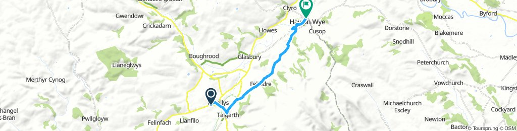 Bronllys campsite to Hay on Wye