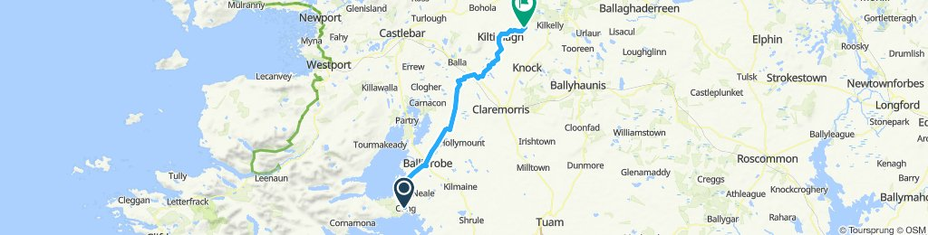 Cong to Kiltimagh to south of Midfield