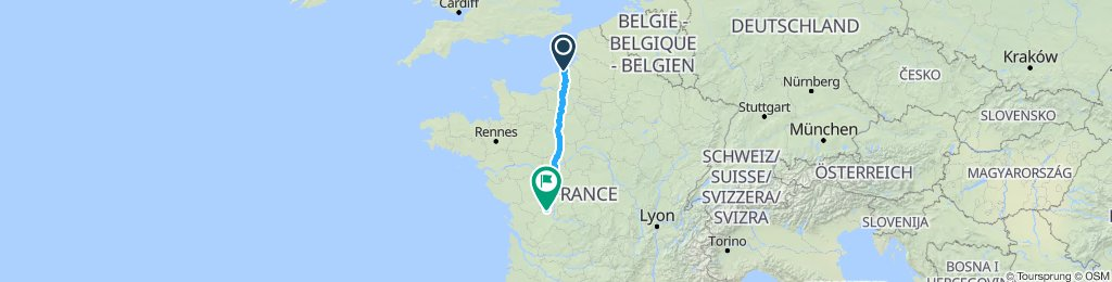 Dieppe to charroux via Nogent & Tours