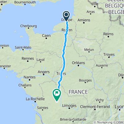 Dieppe to charroux via Nogent & Tours