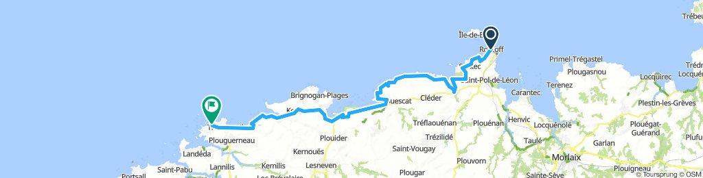 Day 1 Roscoff to Kervenni via coast