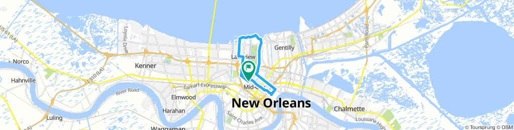 Moderate route in New Orleans