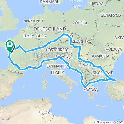 Tour Europe 2020 / Parcours global (approximatif)