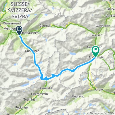 Switzerland Innertkirchen to Andermatt via Furkapass