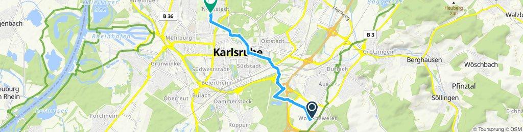 Gerade Fahrt in Karlsruhe