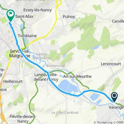 Varangéville -> Nancy (Attention : début du trajet par la V52 peu praticable car très herbeux)