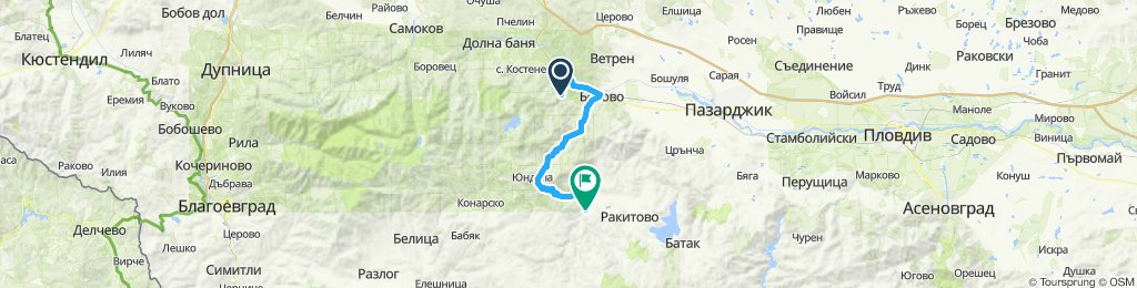Cycling day 1-O, Friday 14/6/19, Sestrimo to Velingrad - optional route