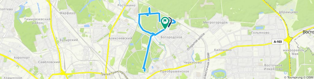 Snail-like route in Moscow