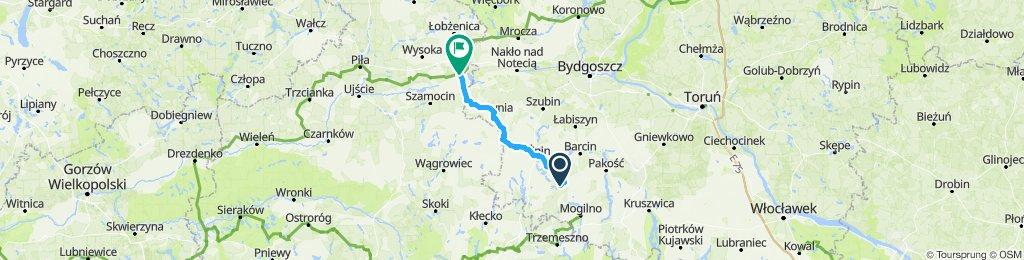 Chomiąża - Wyrzysk przez Żnin, Kcynię, Smogulec 70km