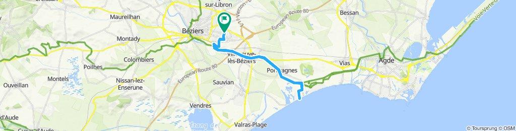 Canal du midi et Portiragnes Plage depuis Béziers
