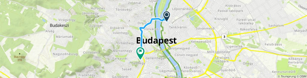 Relaxed route in Budapest XI. kerület
