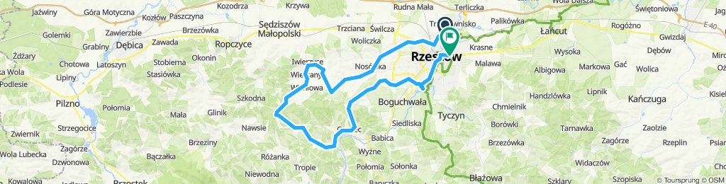 Rzeszow - Czudec (Zglobien, petla wokol Wielkiego Lasu, powrot przez Krzyz Milenijny w Niechobrzu)