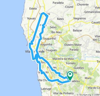 Guilhabreu,  Modivas, Mindelo (Reserva), Azurara, Mosteiro Santa Clara, Aqueduto, Monte S. Felix, Póvoa (Ciclovia Póvoa-Famalicão), Vila do Conde (Marginal)